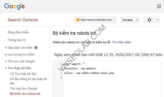 Sử dụng Webmaster tools