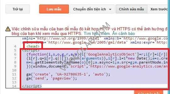 cai dat nhung script google analytics